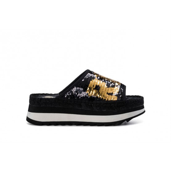REPLAY CHISTINE BLACK GOLD WOMAN SHOES