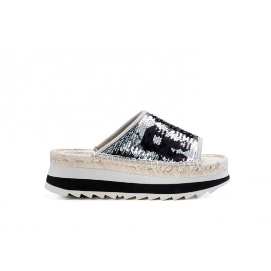 REPLAY CHISTINE SILVER BLACK WOMAN SHOES
