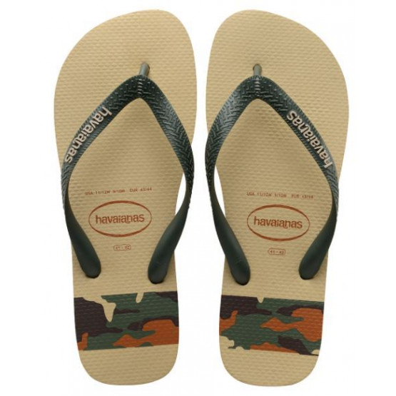 HAVAIANAS TOP STRIPES LOGO SAND GREY MAN FLIP FLOPS