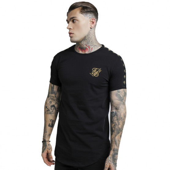 SIKSILK LUREX GOLD TAPE BLACK T-SHIRT