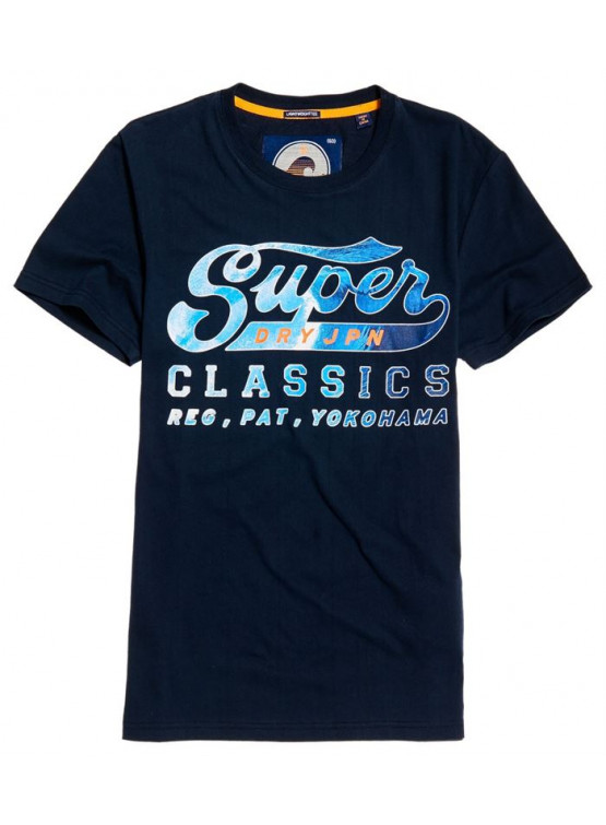 SUPERDRY LITE WEIGHT SWOOSH THREE POINTER NAVY TSHIRT MAN