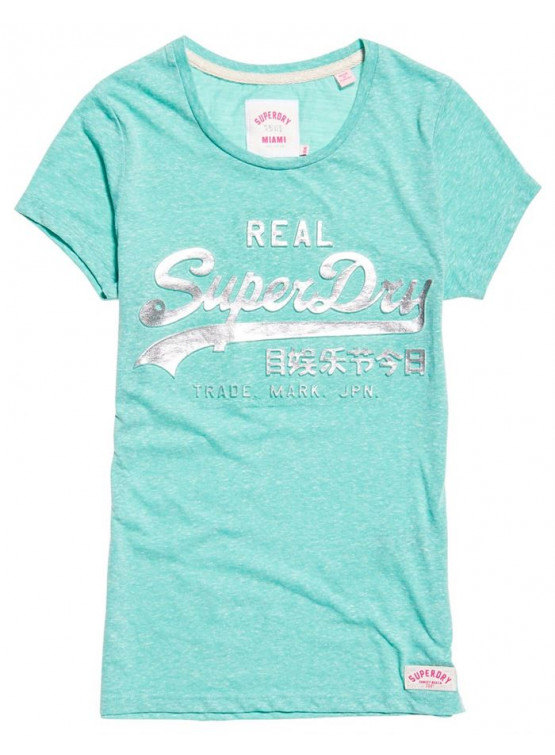 SUPERDRY LOGO EMVOSSED MINT SNOWY WOMAN T-SHIRT