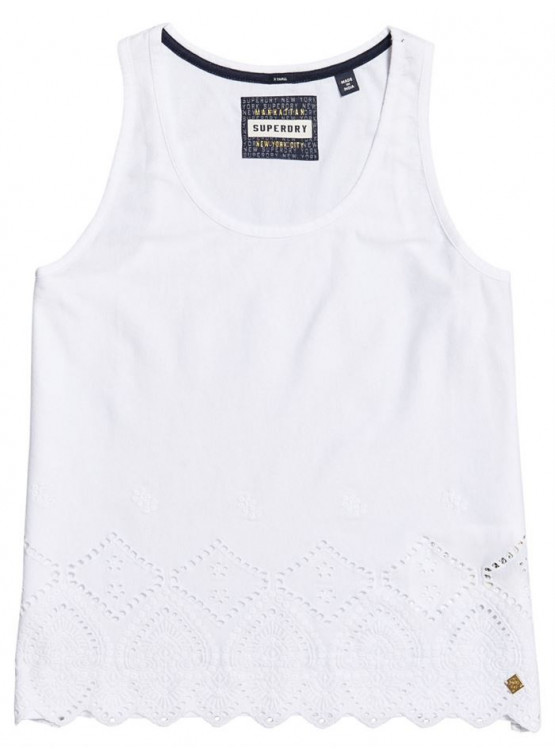 SUPERDRY PACIFIC BRODERIE LINER WHITE WOMAN T-SHIRT