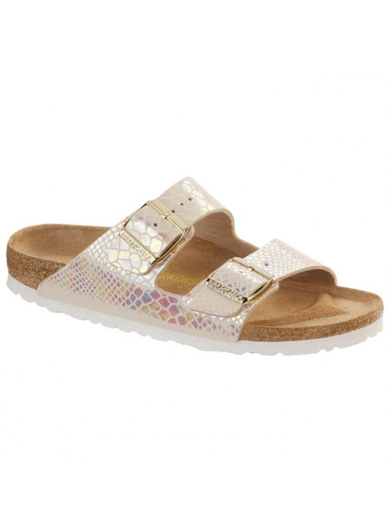 BIRKENSTOCK ARIZONA SNAKE WHITE SANDALS WOMAN