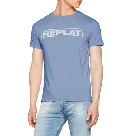Replay G. Dyed Open End Ha Blue Voile Man T-Shirt