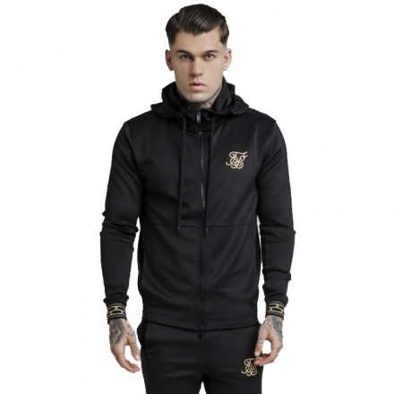 SIKSILK CARTEL AGILITY ZIP THROUGH BLACK MAN JACKET