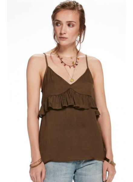 MAISON TANK WITH RUFFLE MOSS WOMAN TOP