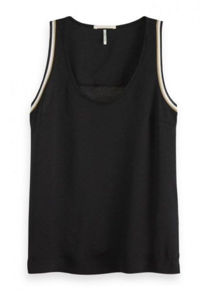 Maison Scotch Ribbed Tank Back Panel  Woman Top
