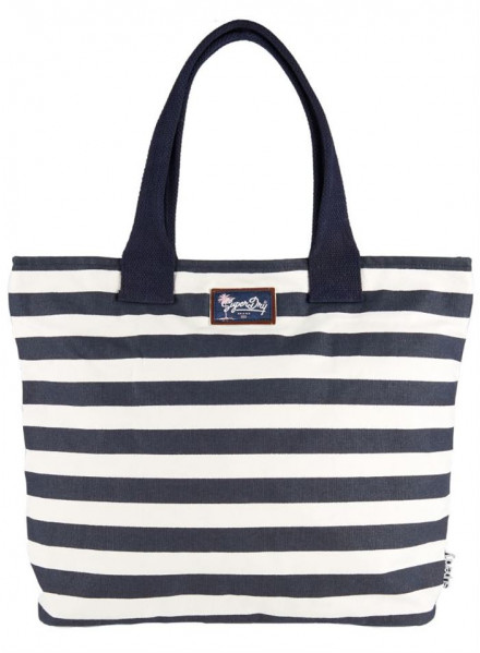 SUPERDRY TIME TOTE CORAL/NAVY STRIPE