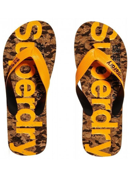 SUPERDRY CORK BLACK FLECK/FLURO ORANGE FLIP FLOPS MAN