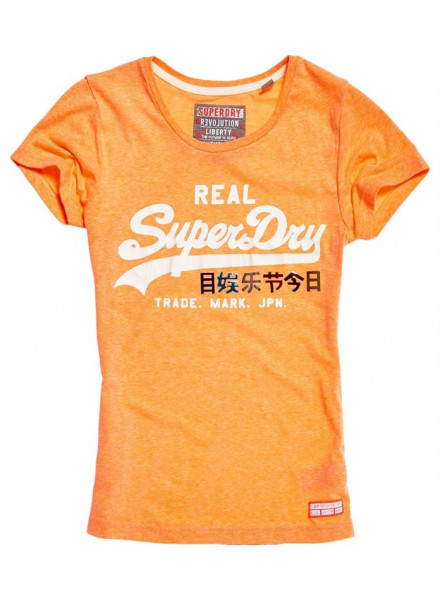 SUPERDRY LOGO FOIL POP FLURO CORAL SNOWY WOMAN T-SHIRT