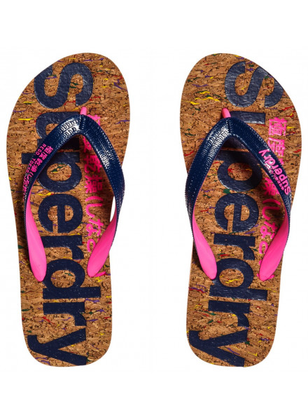 SUPERDRY CORK MULTI PLECK CORK/FRENCH NAVY WOMAN FLIP-FLOPS