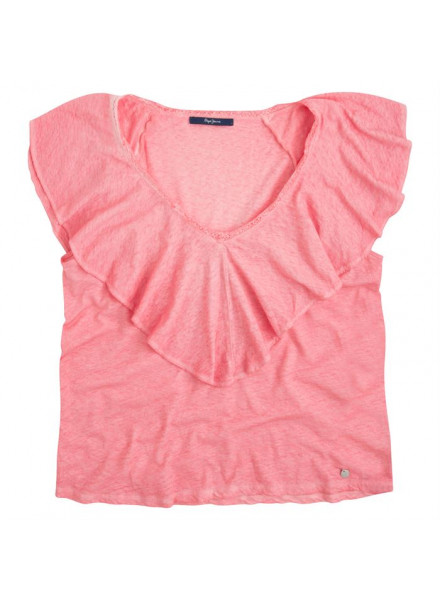 PEPE JEANS KASIA WASHED CORAL SHIRT WOMAN