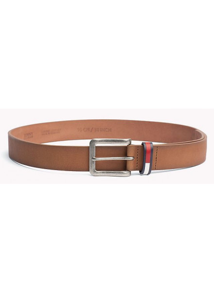TOMMY HILFIGER INLAY BELT DARK TAN BELT