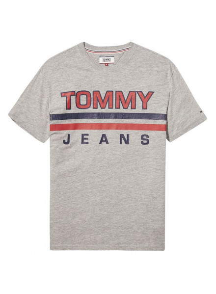 TOMMY HILFIGER STRIPE LT GREY HTR T-SHIRT