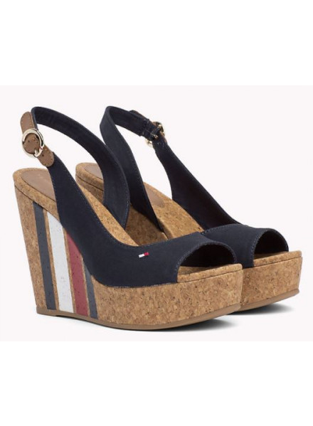 TOMMY HILFIGER WEDGE WITH PRINTED MIDNIGHT WOMAN SHOES