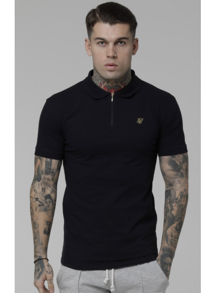 SikSilk Stretch Fit Zip Polo shirt