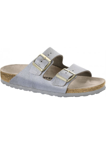 BIRKENSTOCK ARIZONA BLUE SILVER WOMAN SANDALS
