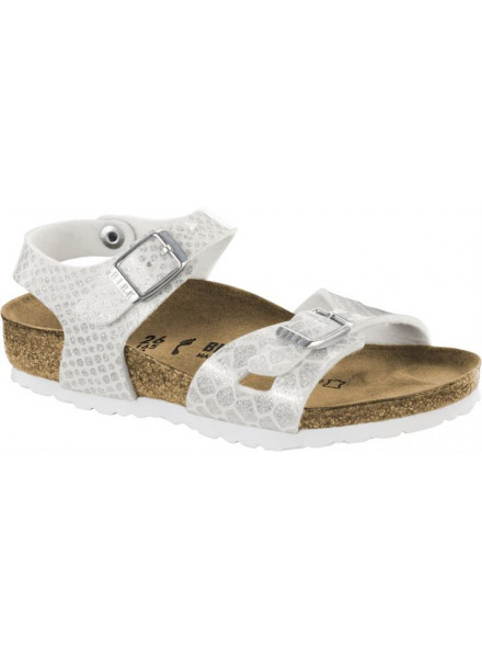 BIRKENSTOCK RIO SNAKE WHITE SANDALS KIDS