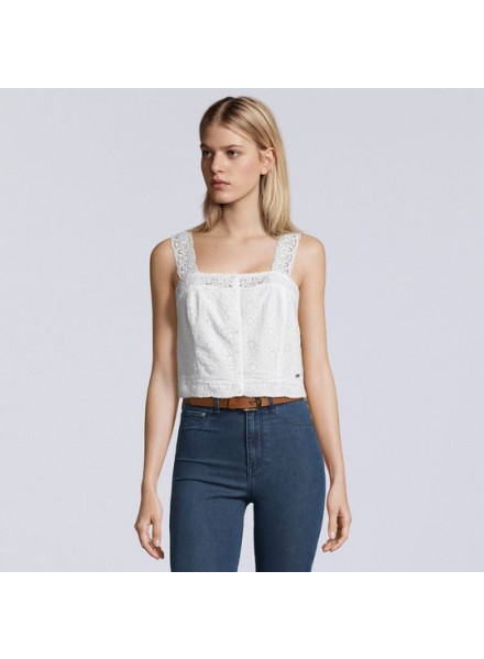 SUPERDRY LACY MIX TOP OPTIC WHITE WOMAN