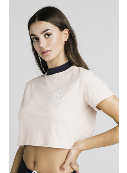 SikSilk Contrast Collar T-Shirt