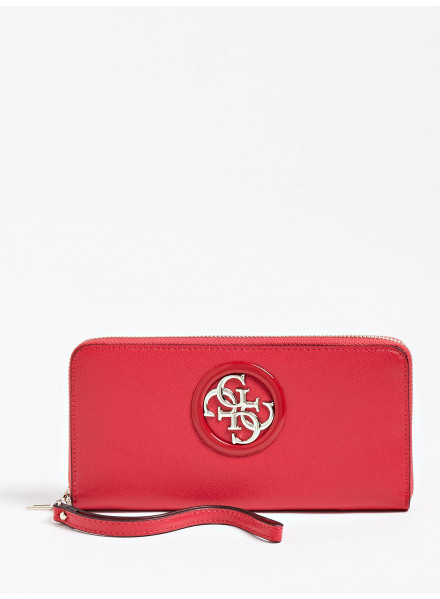 Guess Open Road SLG Large Zip Around Cny Red Wallet