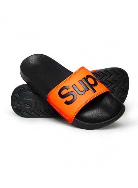 Superdry Pool Slide Black/Orange Man Flip flops