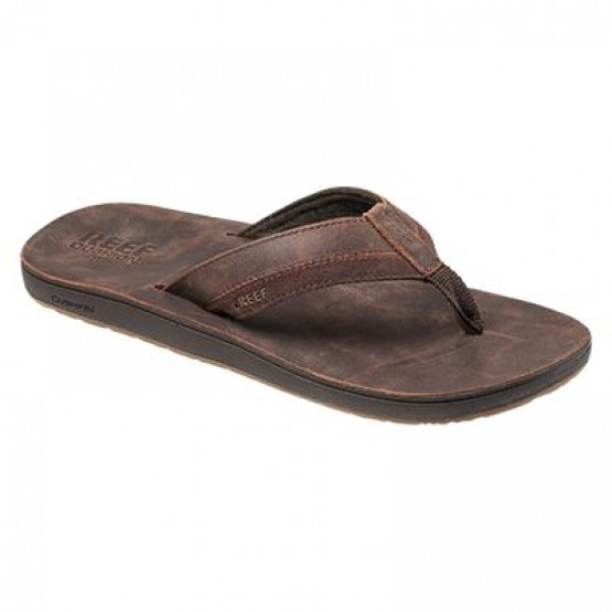 Chanclas Reef Leather Contoured Chocolate