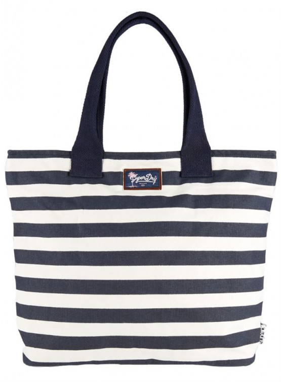 Bolsa Superdry Time Tote M. Coral/Navy Stripe