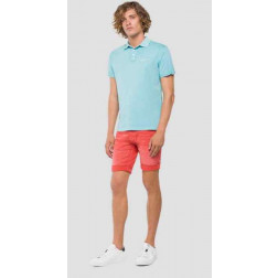 Polo Replay Cotton Turquoise Hombre