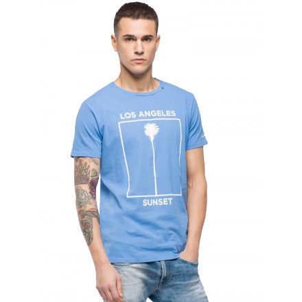 Camiseta Replay G. Dyed Open End Ha Blue Viole