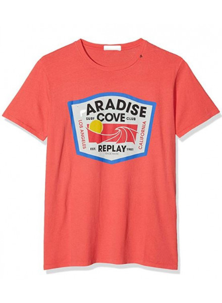 Camiseta Replay G. Dyed Open End Ha Coral Red