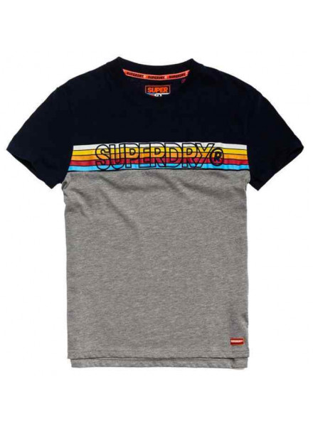 Camiseta Superdry Cali Stripe Embro True Royal