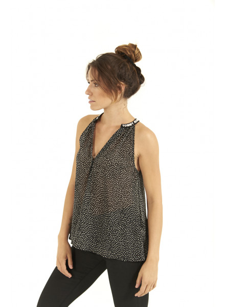 Top Tommy Hilfiger Solid Strap Cami Dotty/Blac