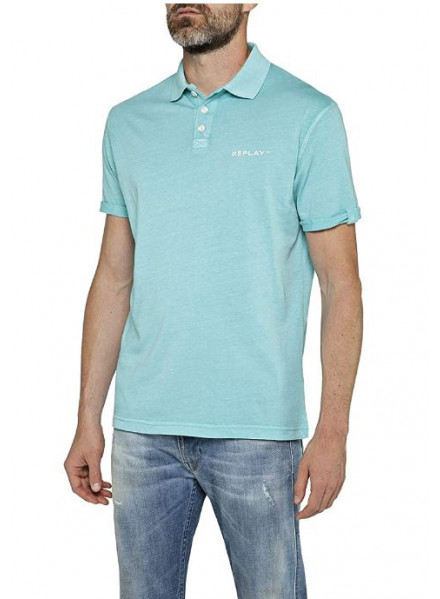 POLO REPLAY COTTON TURQUOISE XL