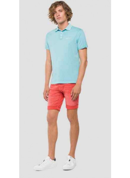 Polo Replay Cotton Turquoise